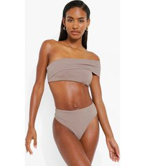 geribbelde bikini set met eén blote schouder, stone