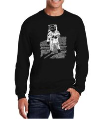 la pop art big & tall men's word art astronaut crewneck sweatshirt