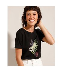 """camiseta de algodão cultive o bem"""" manga curta decote redondo preto"""""""