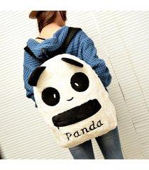 fashion cute panda backpack women bag purse animal soft ears pom poms furry zipp