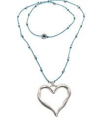collar de mujer plateado azul cuore ondulato love vestopazzo
