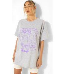 gelicenseerd oversized spongebob t-shirt, grey