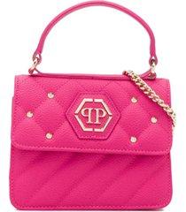 philipp plein bolsa tiracolo hexagonal com logo - rosa