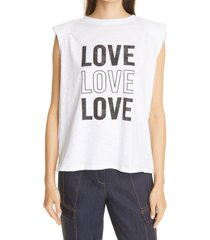 cinq a sept reese love love love graphic padded shoulder muscle tank, size large in white/black at nordstrom