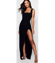tall maxi jurk met zijsplit en vierkante hals, zwart