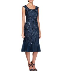 women's alex evenings sequin embroidered cocktail dress, size 6 - blue