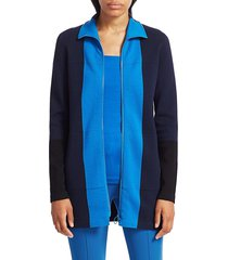 akris punto women's milano stretch-wool knit colorblock zip jacket - night sky - size 6