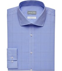 michael kors blue windowpane plaid slim fit stretch dress shirt
