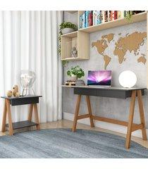 escrivaninha cavalete e mesa lateral cavalete amãªndoa preto casah - preto - dafiti