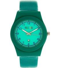 crayo unisex dazzle teal genuine leather strap watch 37mm