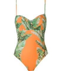 amir slama floral print swimsuit - orange