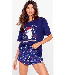 womens merry grinchmas tee and pajama shorts set - navy