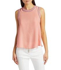 cinq à sept women's ellina silk crochet top - pretty in pink - size xl