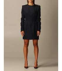 balmain dress balmain tartan tweed dress with buttons