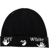 off-white black wool beanie hat