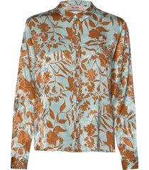 nura stencil shirt overhemd met lange mouwen blauw mos mosh