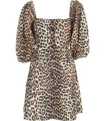 ganni printed cotton poplin wide neck 3/4s dress