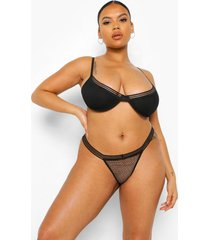 plus mesh beha en slip set, black