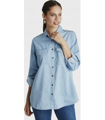 blusa manga larga azul curvi