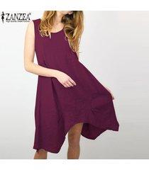 zanzea vestido corto de playa de fiesta de verano con escote en v de algodón corto para mujer -rojo