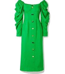 betty button-embellished gathered twill midi dress