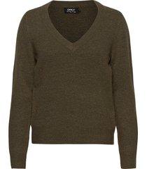 onlcorinne l/s v-neck pullover knt stickad tröja grön only