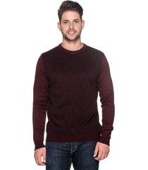 suéter passion tricot slim jacar vinho - kanui