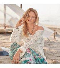 sundance women's brinley sweater in bright white xs