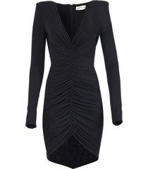 draped asymmetric mini dress black