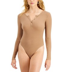 hooked up by iot juniors' long-sleeved henley bodysuit