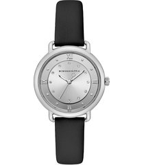 bcbgmaxazria women's stainless steel, crystal & leather-strap watch