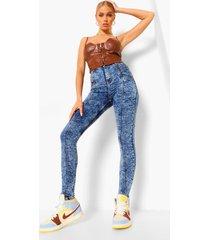 acid wash gebleekte skinny jeans met naaddetail, blue