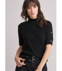 fijn geribde cashmere trui met korte mouwen en opstaande kraag