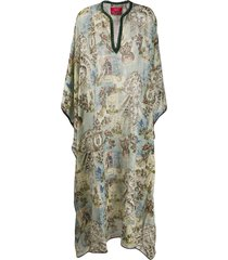 f.r.s for restless sleepers chiffon geometric kaftan dress - blue