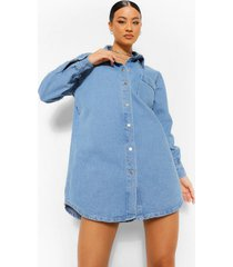 oversized blouse jurk met gerafelde zoom, dark blue