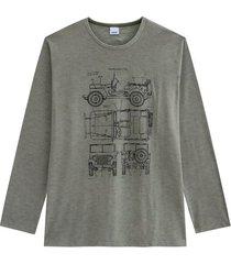 camiseta tradicional em malha mescla wee! verde escuro - p