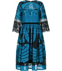 alberta ferretti sheer detail flared dress - blue