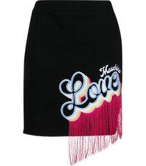 love moschino fringe logo skirt - black