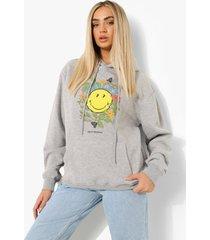 oversized gelicenseerde smiley hoodie, grey marl