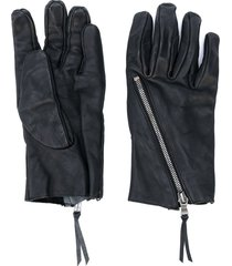the viridi-anne zip detail textured gloves - black