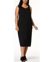 eileen fisher system plus size sleeveless stretch jersey midi dress