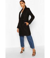 double breasted slim fit wool look coat, black