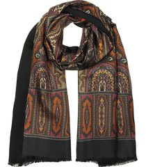 forzieri designer men's scarves, modal & silk ornamental print men's fringed scarf