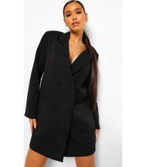 oversized boxy blazer jurk, black