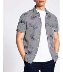 river island mens blue floral stripe slim fit seersucker shirt