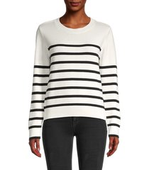 calvin klein women's striped sweater - soft white - size l