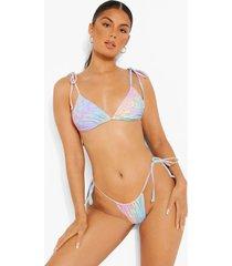 driehoekige luipaardprint bikini top met schouderstrikjes, lilac