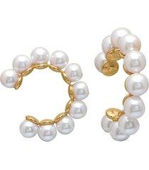 gabi rielle women's 22k gold vermeil & 4mm freshwater pearl ear cuffs