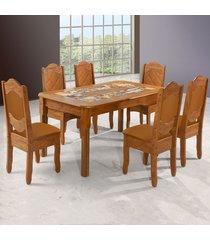 mesa de jantar 6 lugares imperial rústico/canela - art panta