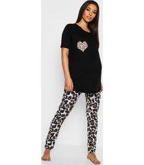 positiekleding pyjama met hart in luipaardprint, zwart